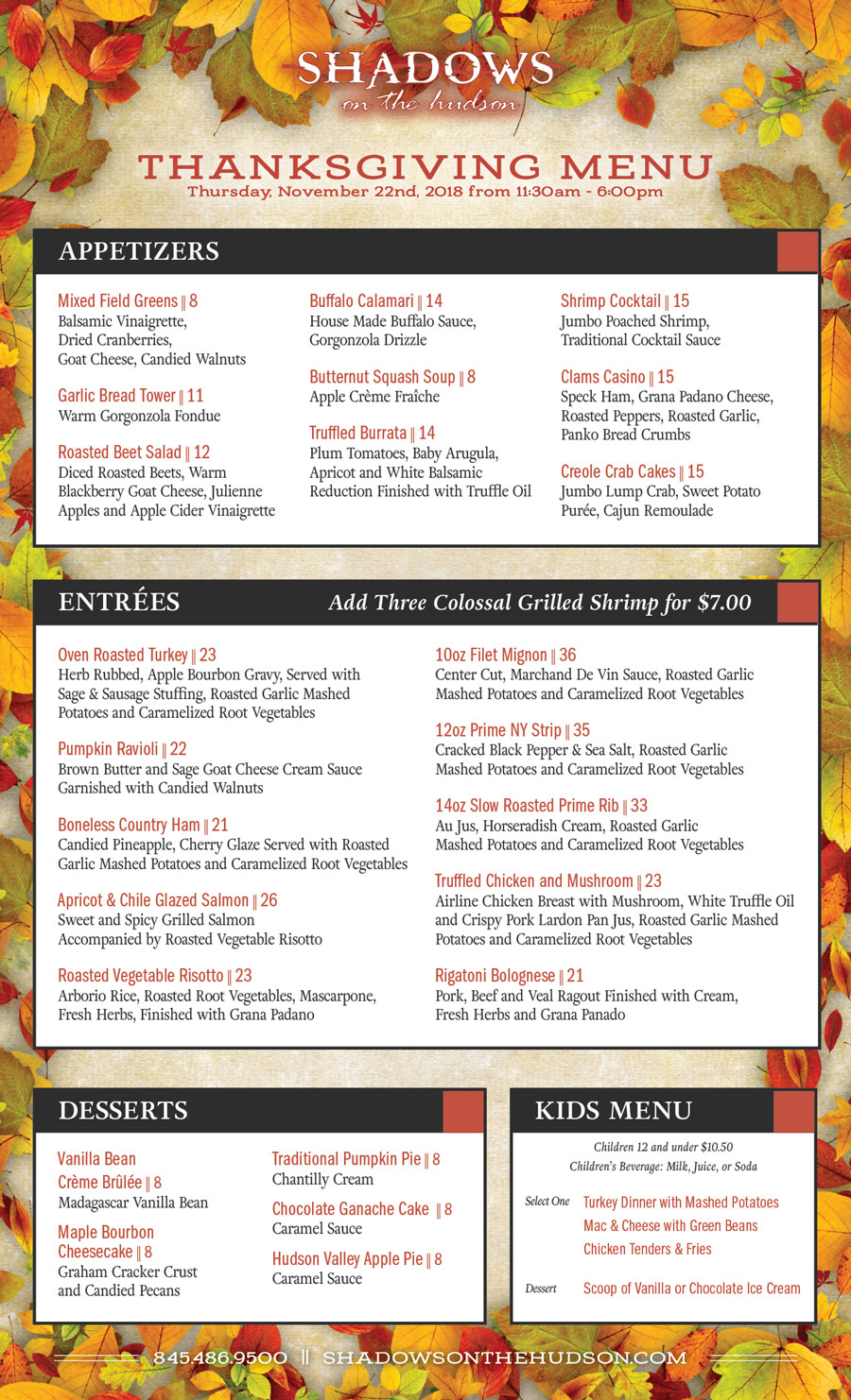Shadows on the Hudson Thanksgiving menu 2018