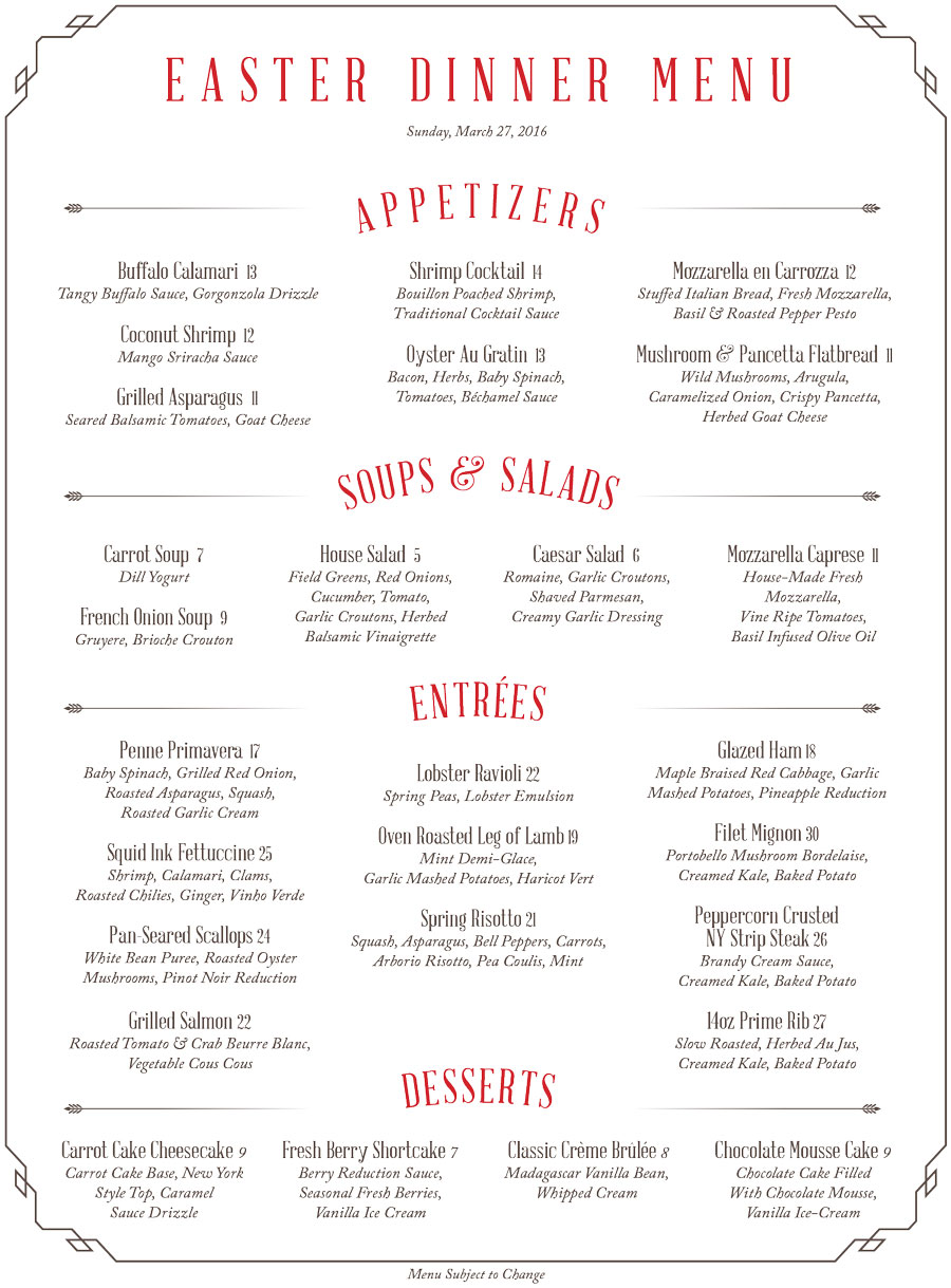 Easter Dinner Menu 2016 Shadows On The Hudson # Buffet Blanc Style New York