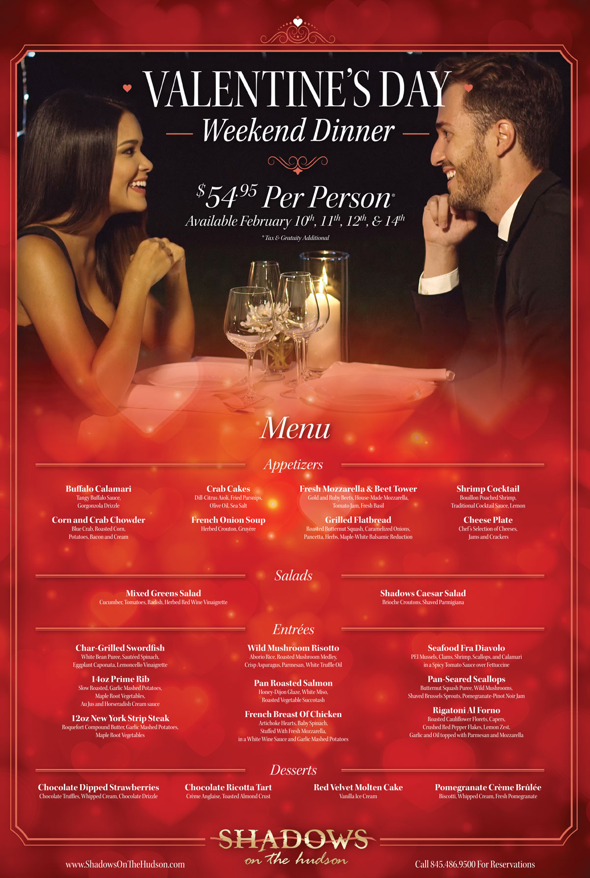 Valentine S Weekend Prix Fixe Menu Shadows On The Hudson